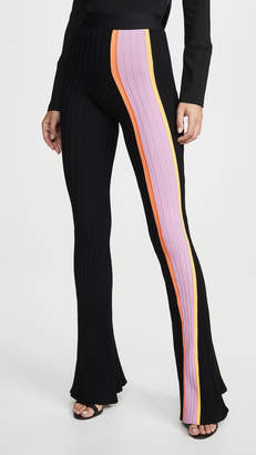 Ellery Bottleneck Rib Flared Pants with Front Stripe