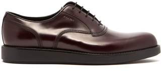 Prada Raised Sole Leather Oxford Shoes - Mens - Burgundy