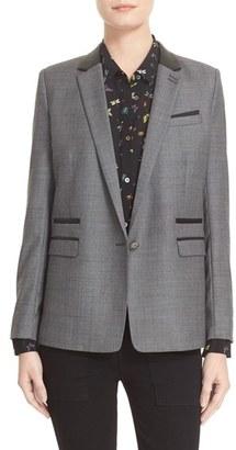 Women's The Kooples Leather Trim Suit Jacket $625 thestylecure.com