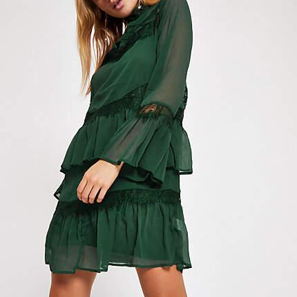 Womens Dark Green lace frill trim swing dress