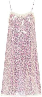 Miu Miu leopard-print lamé dress