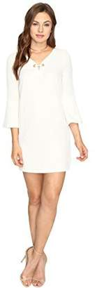 Kensie Womens Textured Bell Sleeves Casual Dress White L