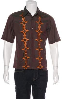 Dries Van Noten Woven Embroidered Button-Up Shirt