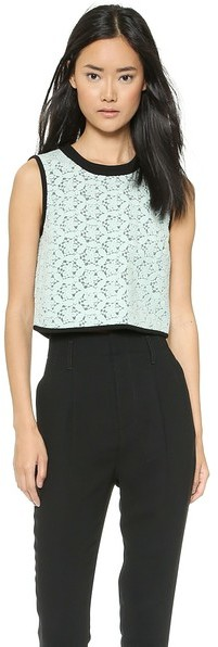 Tibi Sleeveless Lace Crop Top
