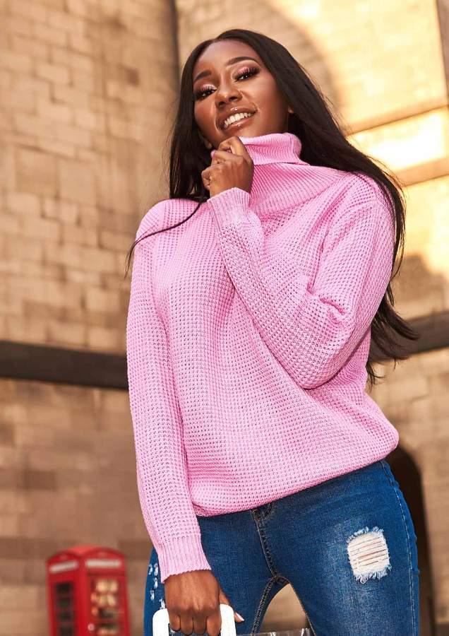 Missyempire Harper Candy Pink Knit Roll Neck Jumper