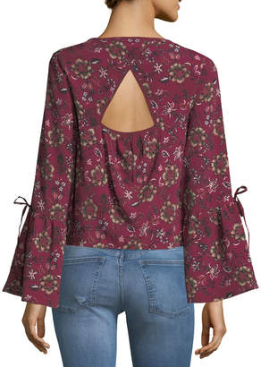 Band of Gypsies Retro Floral-Print Peasant Blouse
