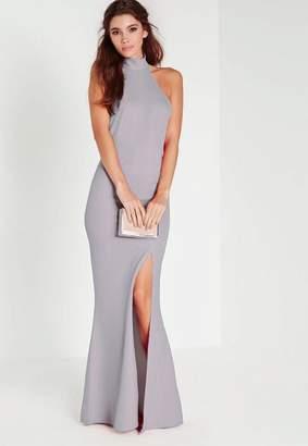 Missguided Gray Choker Maxi Dress