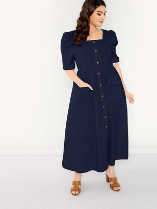 Shein Plus Pocket Front Button Square Neck Pleated Dress