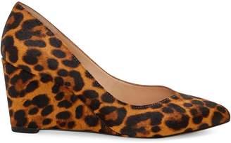 1 STATE Maeve Leopard-Print Calf Hair Wedge Pumps