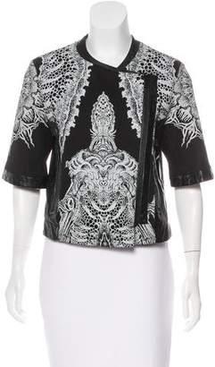 Helmut Lang Leather-Trimmed Printed Jacket
