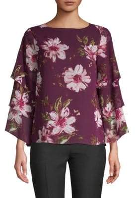 Calvin Klein Ruffle Sleeve Floral Top