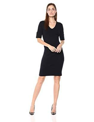 Lark & Ro Women's Half Sleeve V-Neck Sheath Sweater Dress with Buttons