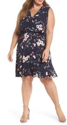 Eliza J Floral Print Surplice Dress