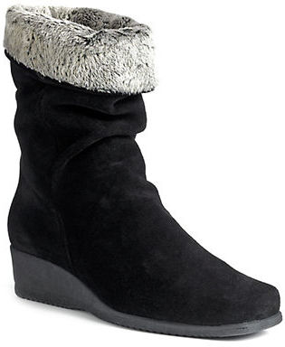 La Canadienne Fancy Faux Fur Trimmed Suede Wedge Boots $240 thestylecure.com