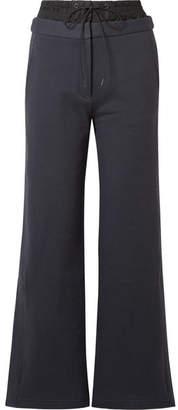 Tibi Layered Cotton-jersey And Shell Track Pants - Midnight blue