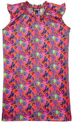 Vilebrequin Gappy Ruffle-Sleeve Printed Dress, Size 2-14