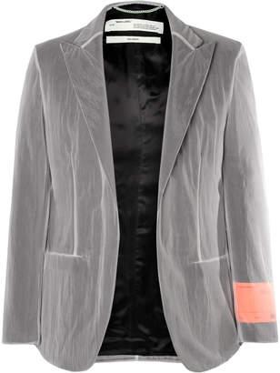 Off-White Grey Chiffon-Covered Woven Blazer