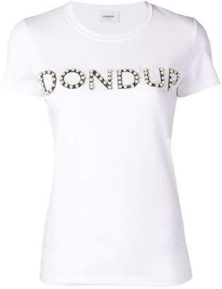 Dondup faux-pearl embellished logo T-shirt