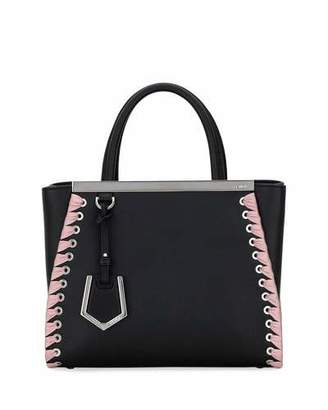 Fendi 2Jours Petite Calf Dolce Tote Bag with Ribbon Whipstitching