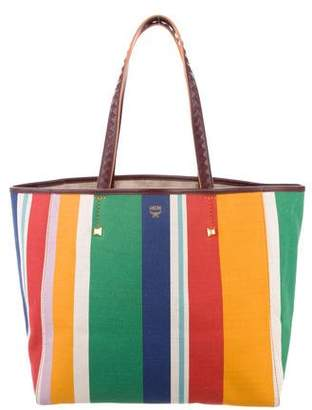 MCM Uhse Striped Canvas Tote