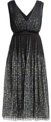 No.21 No. 21 - Pleated Floral Print Chiffon Dress - Womens - Black Multi