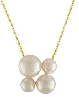 Majorica 7-10MM White Round Pearl and Goldplated Sterling Silver Pendant Necklace