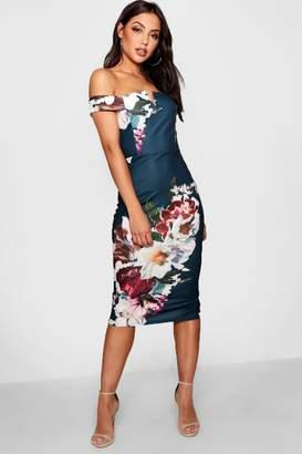 boohoo Floral Print Off the Shoulder Midi Dress