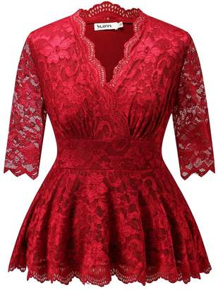Dilanni Women Sexy Fitted Peplum High Waist Lace Wedding Top Plus Size