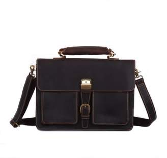 EAZO - Vintage Look Leather Briefcase in Dark Brown
