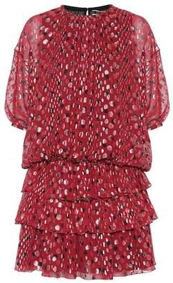 Saint Laurent Silk-blend fil coupé dress