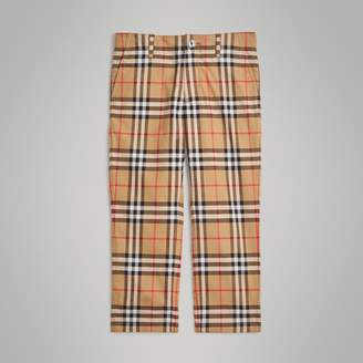 Burberry Childrens Vintage Check Cotton Tailored Trousers