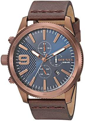 Diesel Men's Rasp Chrono 46 Stainless Steel Japanese-Quartz Watch with Leather Strap