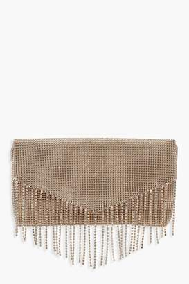 boohoo Diamante Fringe Clutch Bag