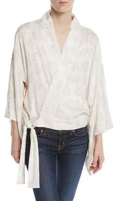 Chufy Wrap-Front Floral-Jacquard Kimono Jacket w/ Embroidery
