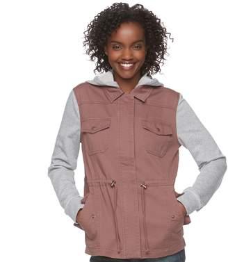 Mudd Juniors' Knit Sleeve Utility Jacket