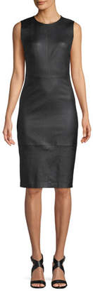 Vince Sleeveless Leather Knee-Length Dress