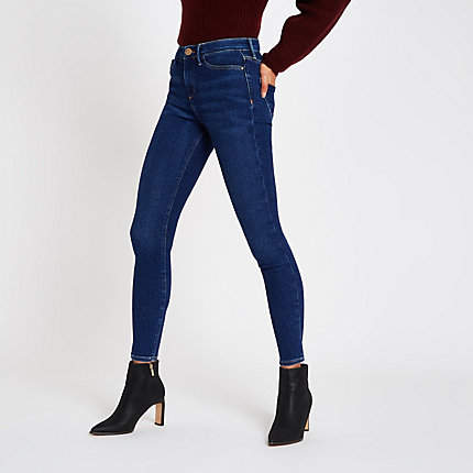 Womens Dark Blue Molly mid rise skinny jeggings
