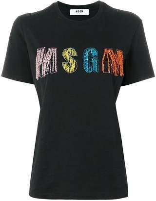 MSGM beaded embellished logo T-shirt