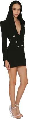 Balmain Hooded Crepe & Satin Blazer Dress