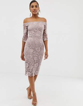 Paper Dolls crochet lace bardot midi pencil dress in mink