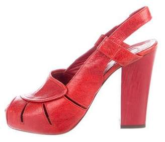 Chloé Wooden Heel Slingback Sandals