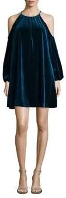Badgley Mischka Belle Velvet Cut-Out Trapeze Dress
