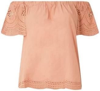 Dorothy Perkins Womens Pink Broderie Sleeve Bardot Top