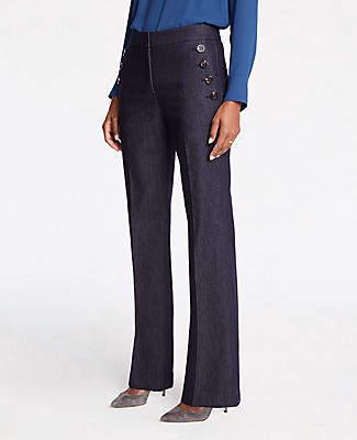 Ann Taylor Petite Faux Denim Sailor Flare Trousers