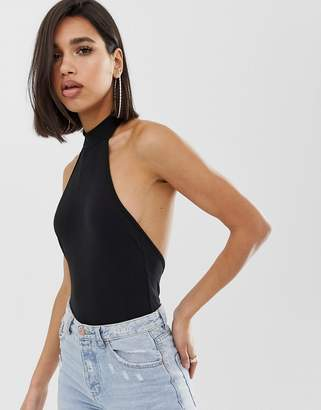 Asos Design DESIGN sexy halter neck bodysuit with ultra low back in black