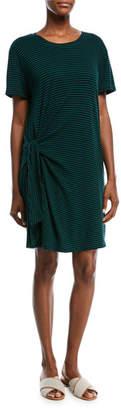 Vince Stripe Short-Sleeve Side-Tie Dress