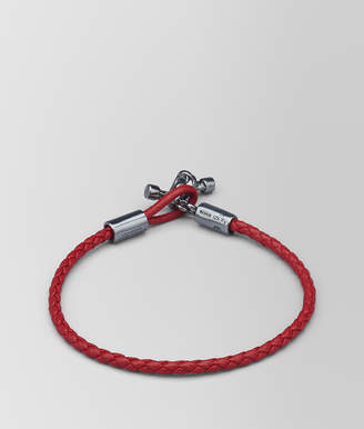 Bottega Veneta CHINA RED LEATHER/OXIDIZED SILVER BRACELET