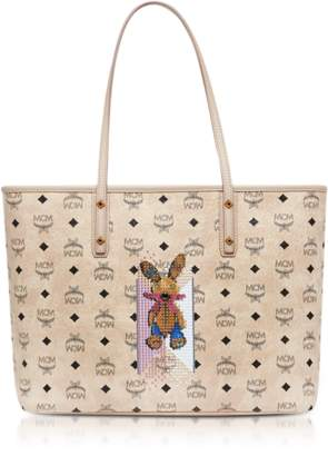 MCM Visetos Studded Rabbit Beige Top Zip Medium Tote Bag