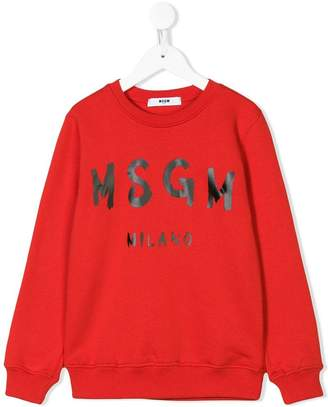 MSGM Kids crew neck logo sweatshirt
