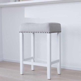 """BEIGE Nathan James Hylie Wood Kitchen Counter Stool, 24"""" Gray Upholstered Fabric Cushion, White Finish"""